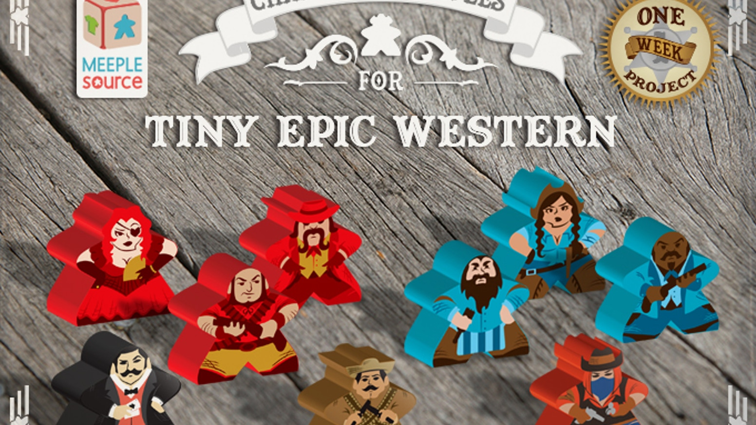 Meeple Source and Gamelyn Games have teamed up again with some stunning Posse and Boss Meeples for Tiny Epic Western! Yee haw!
