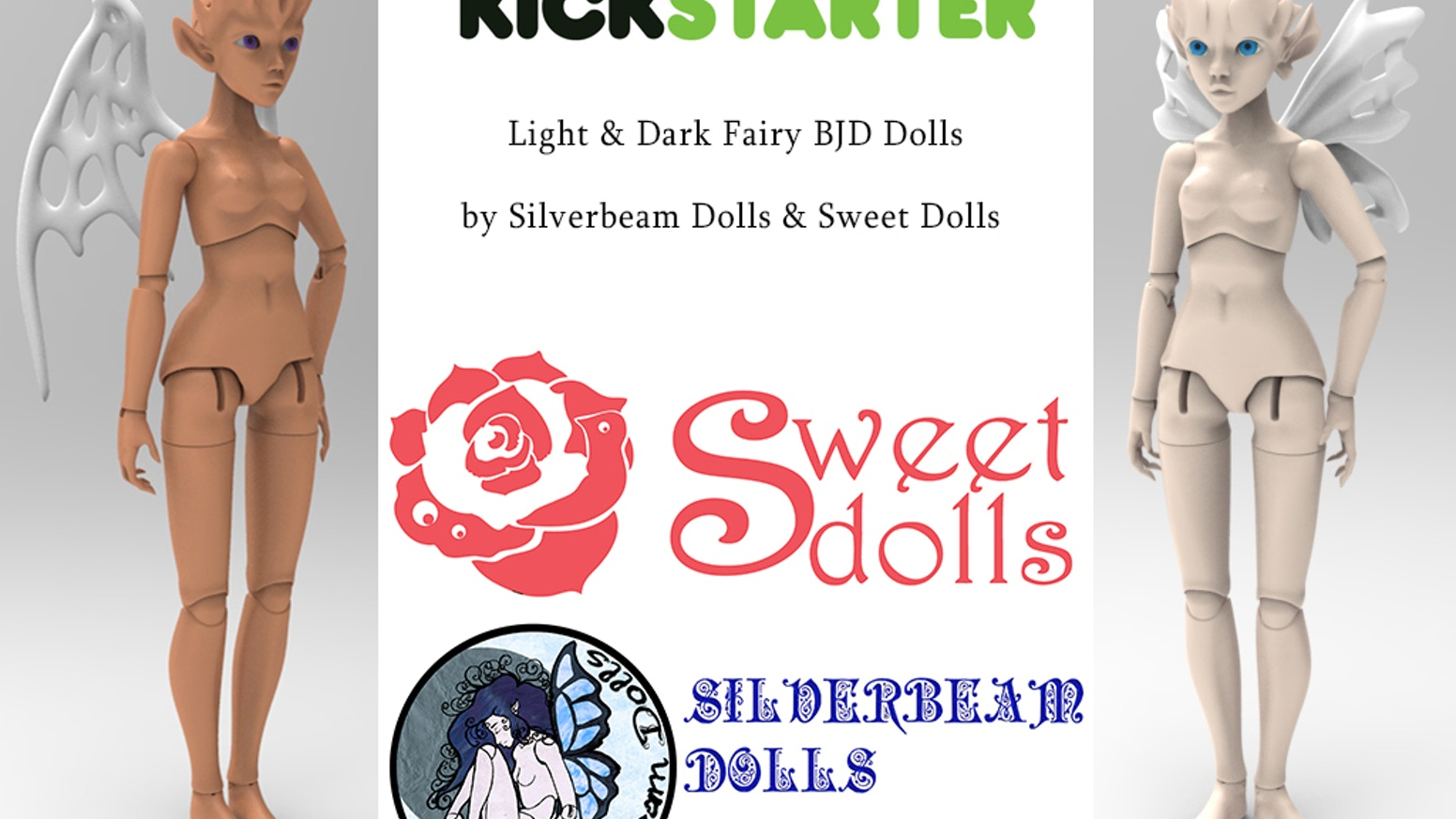 Ideal Light & Dark Fairy Ball Jointed Dolls by Silverbeam Dolls & Sweet  OI17