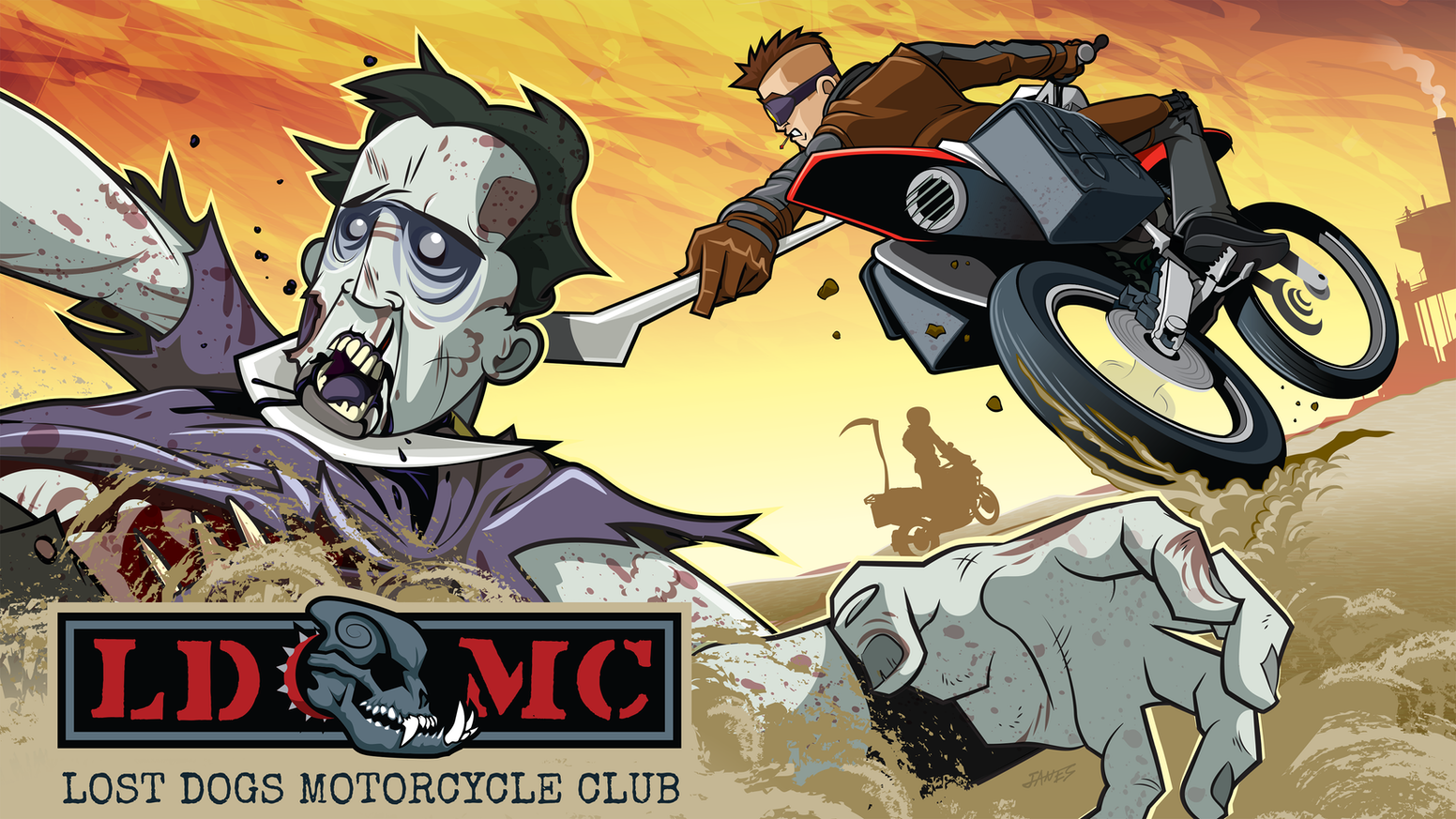 A biker club formed in the ashes of the apocalypse, the LDMC fights to keep the Throng of the Black Tongue from bringing them low!
