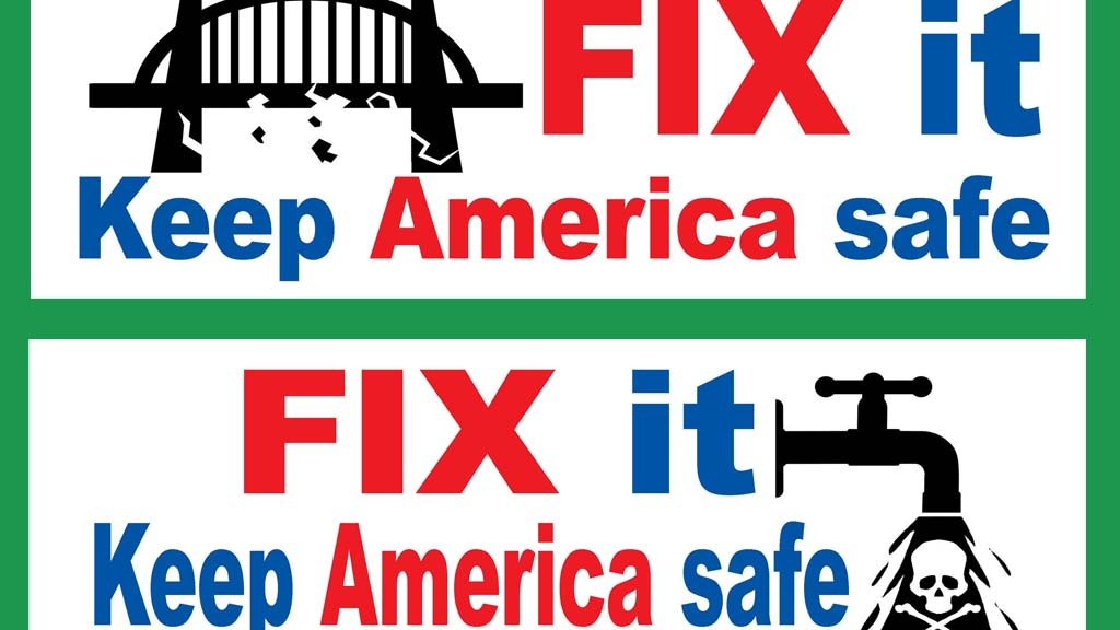 Project image for A set of 4 bumper stickers to save America's infrastructure