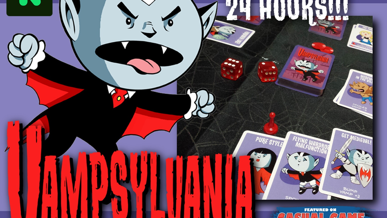 You're a newbie vampire in the most vamp-hostile town on Earth! A fast-paced competitive card & dice game for 3-6 players ages 10 & up.