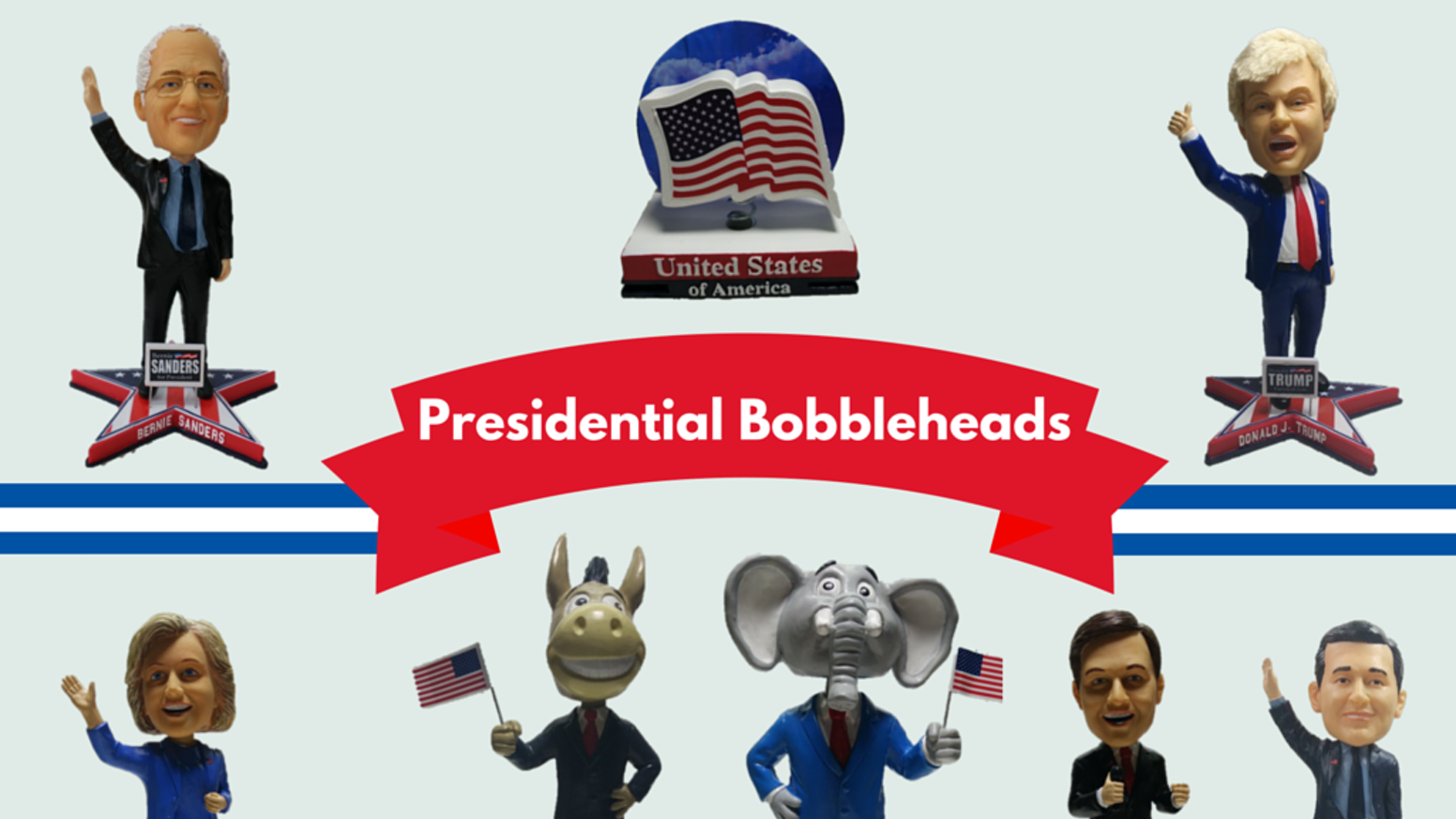 2016 Political Campaign Bobbleheads featuring Bernie Sanders, Donald Trump, Hillary Clinton, Ted Cruz, Marco Rubio and More!