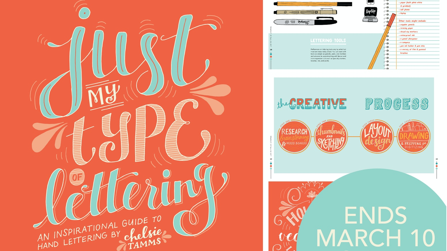 A 40-page, full color inspirational guide to hand lettering, how to make