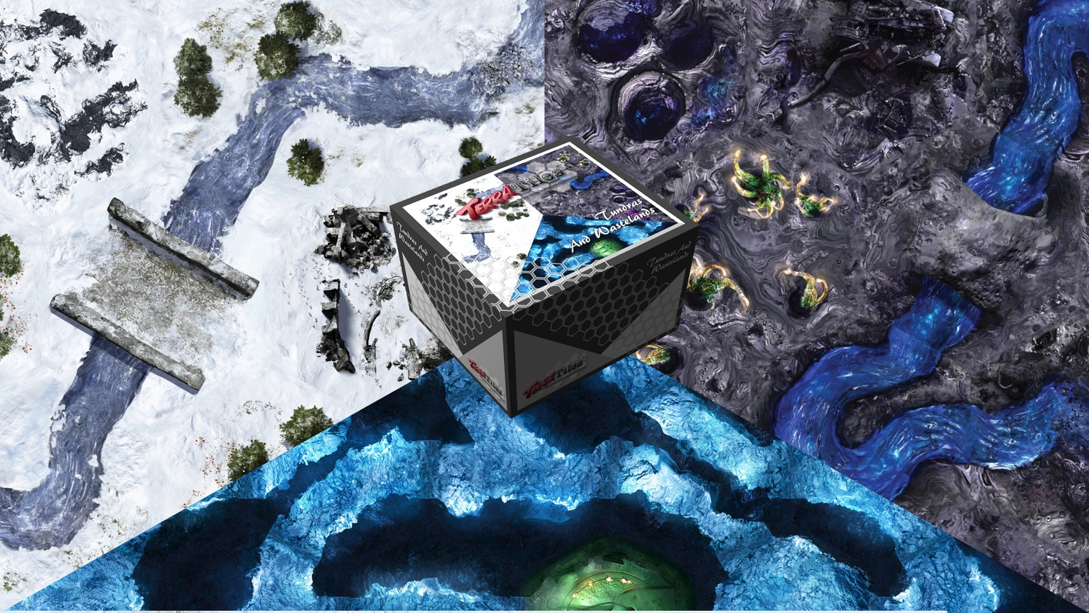 A 3-in-1 Tabletop Terrain System for Miniature Games, Wargames, and RPGs - features a winter tundra, war-torn wasteland, and cavern.