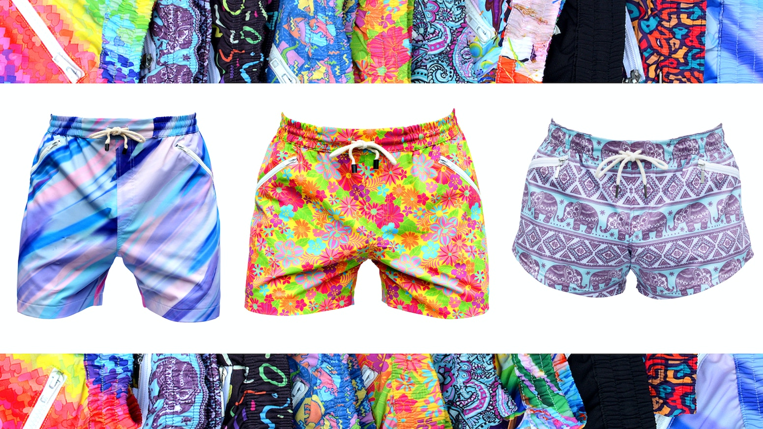 The first shorts to combine breath-taking art with the comfort of athletic shorts and the utility of fanny packs.