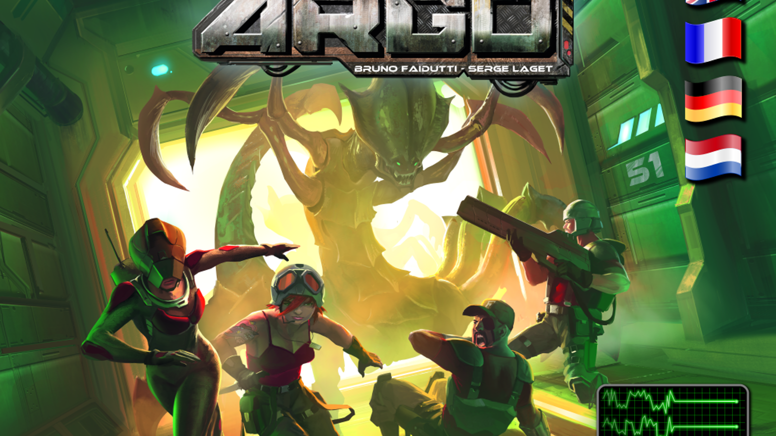 "Argo is a space station crawler, with a big puzzle aspect and a unique ""not-cooperative but you have to behave"" twist.A game by Serge Laget and Bruno Faidutti."