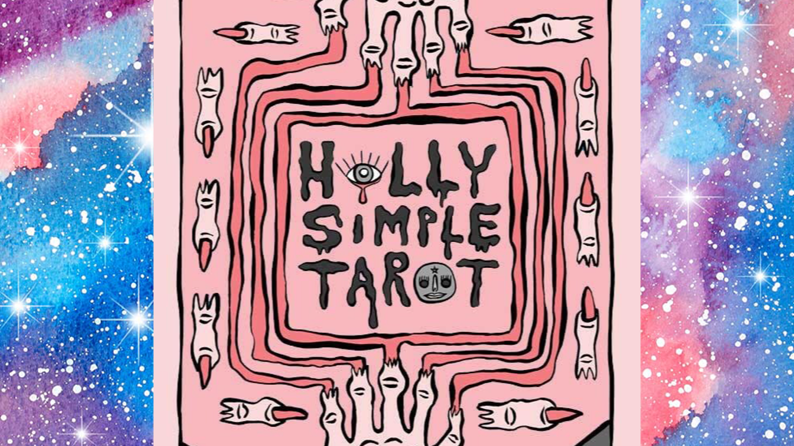 78 original ink drawings - colored and compiled to make one uniquely designed tarot deck in the Holly Simple style.