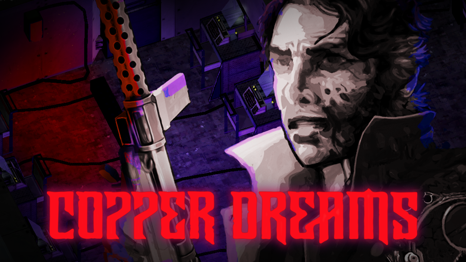 A CRPG featuring cyber-espionage and horror. Turn based combat with timed actions, stealth and chainsaw arms.