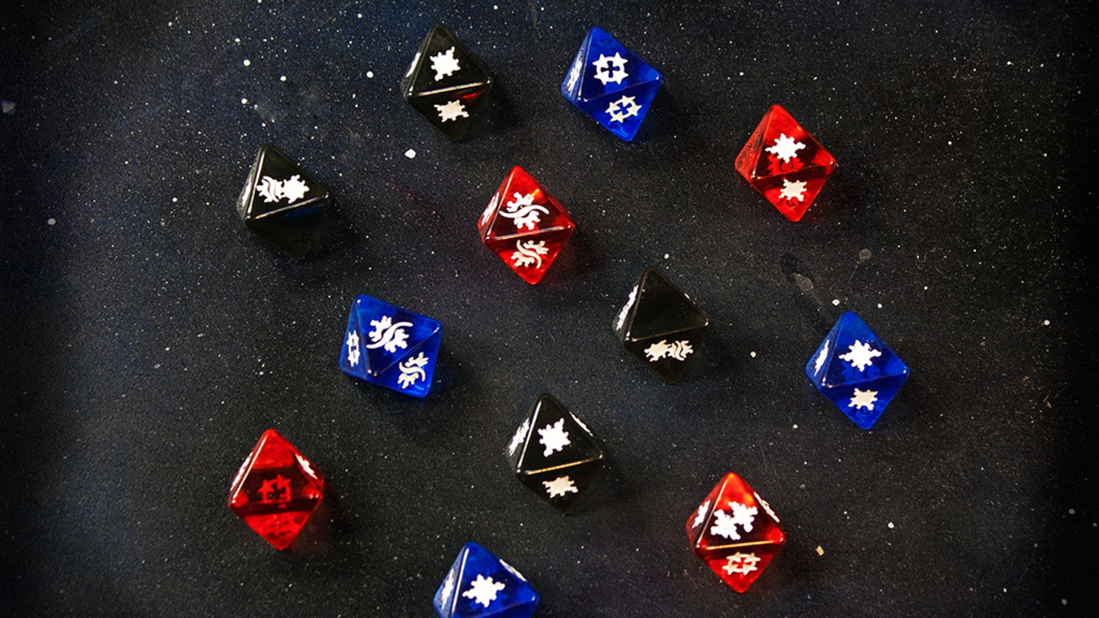 The ultimate power in the Galaxy... now with better dice! Transparent dice compatible with your favorite space battle games!