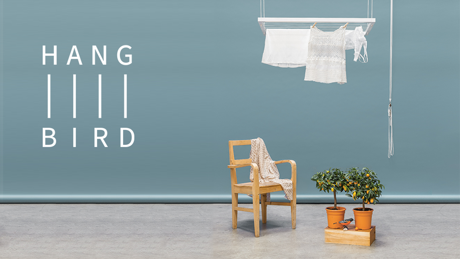 Hangbird lifts your clothes away for drying, helps save resources and is made of high quality components by people with special needs.