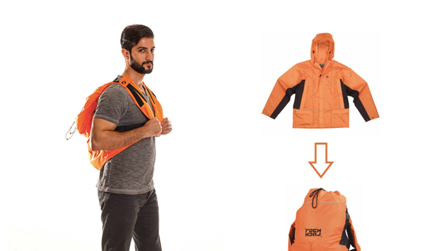 Ruckjack changes from a jacket to a backpack with 3 steps.