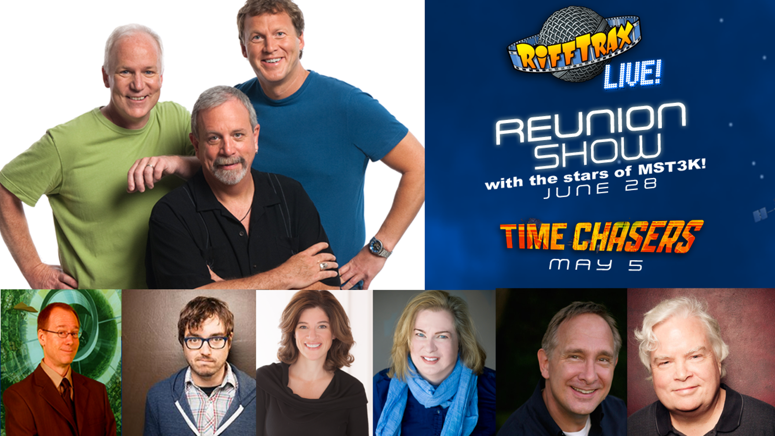 An MST3K reunion with the cast members from the original show simulcast LIVE to theaters nationwide! Plus a Live riff of Time Chasers, Mothra and Carnival of Souls!