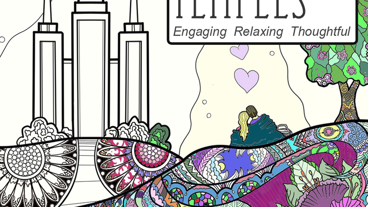 A coloring book for adults based on LDS Temples by Jeanette