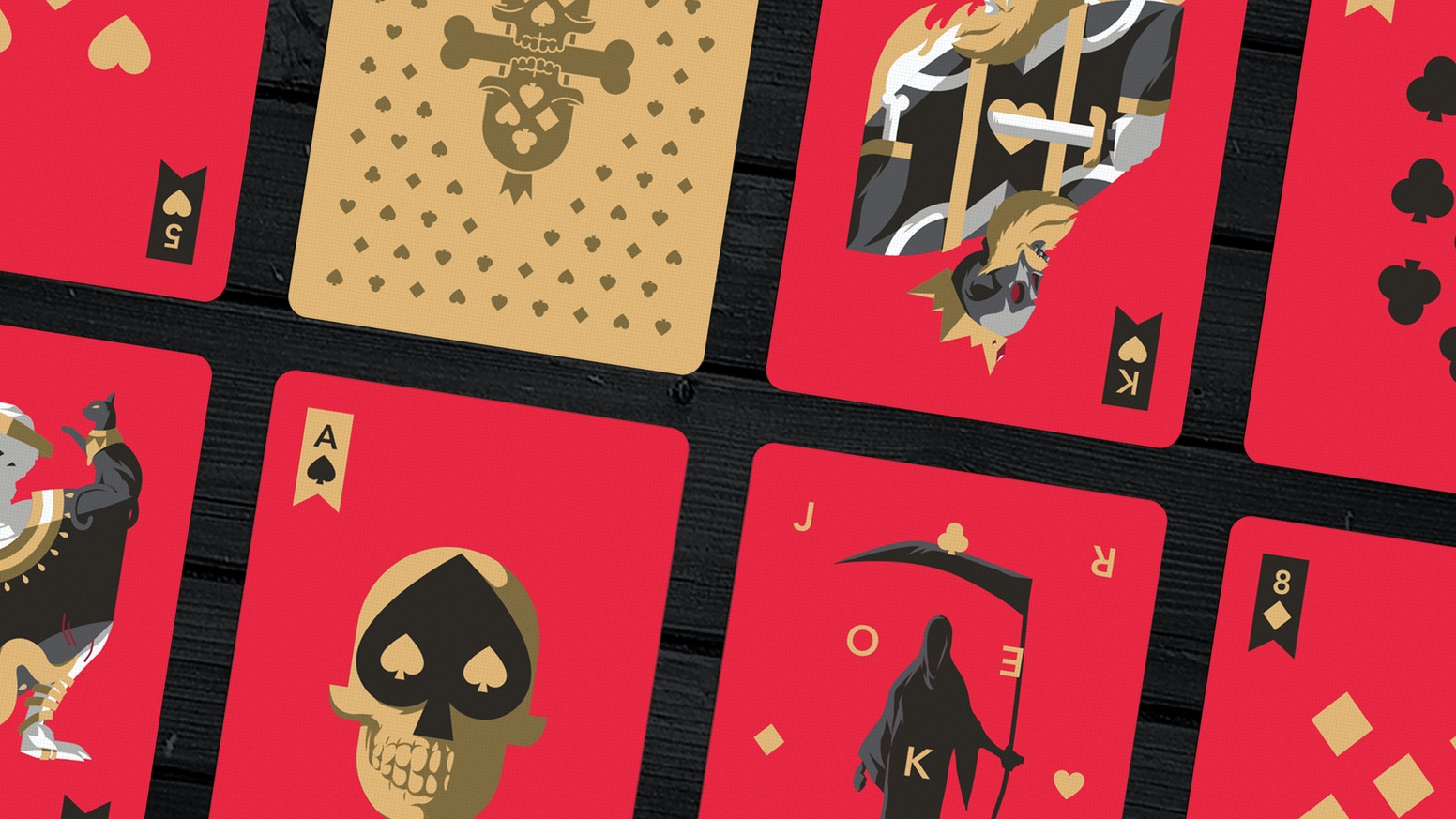 The first in a line of custom playing card decks themed around life and death, by artist Florey.
