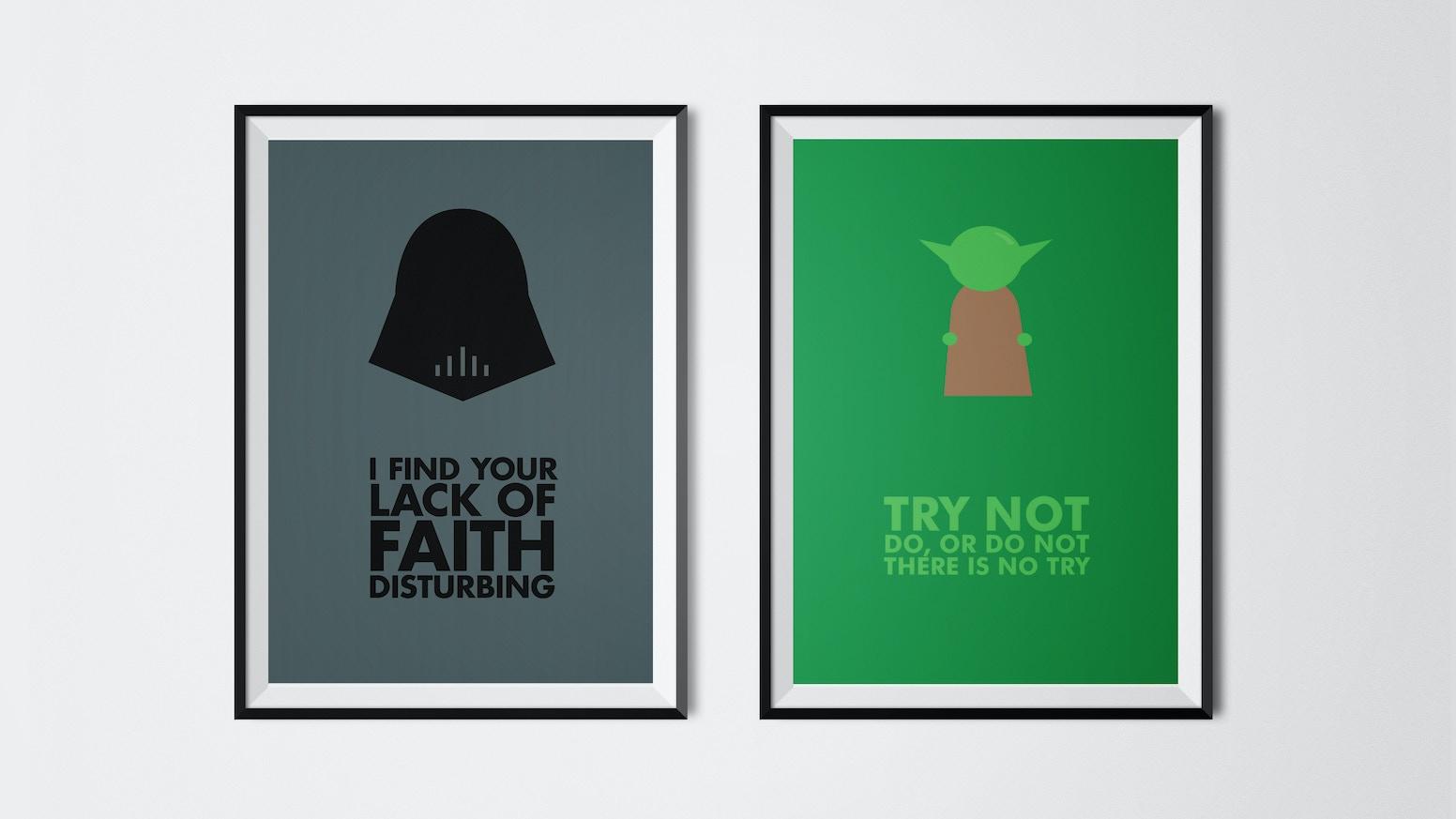 star wars minimal quote posters by thomas trunz petersen kickstarter