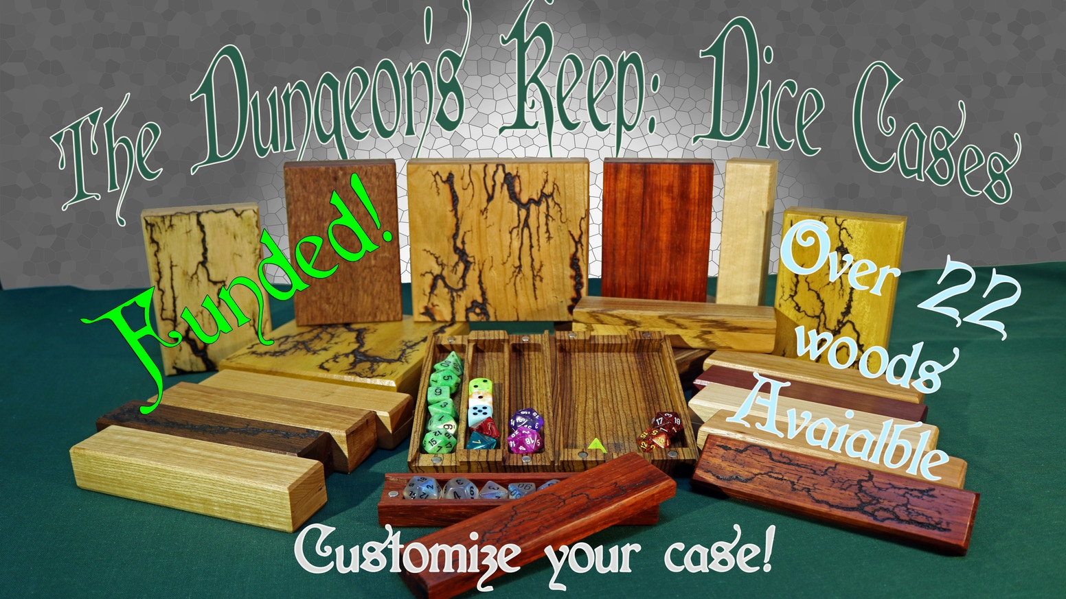 Our dice boxes with rolling trays are made from hardwood and exotic lumber. They are carefully crafted and have customization options.
