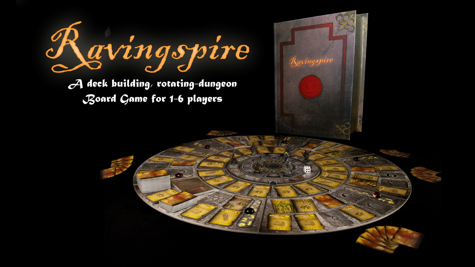 Ravingspire: A deck-building, rotating-dungeon boardgame of Swords, Sorcery and Madness. For 1-6 Players. Watch tutorial and gameplay videos on www.ravingspire.com