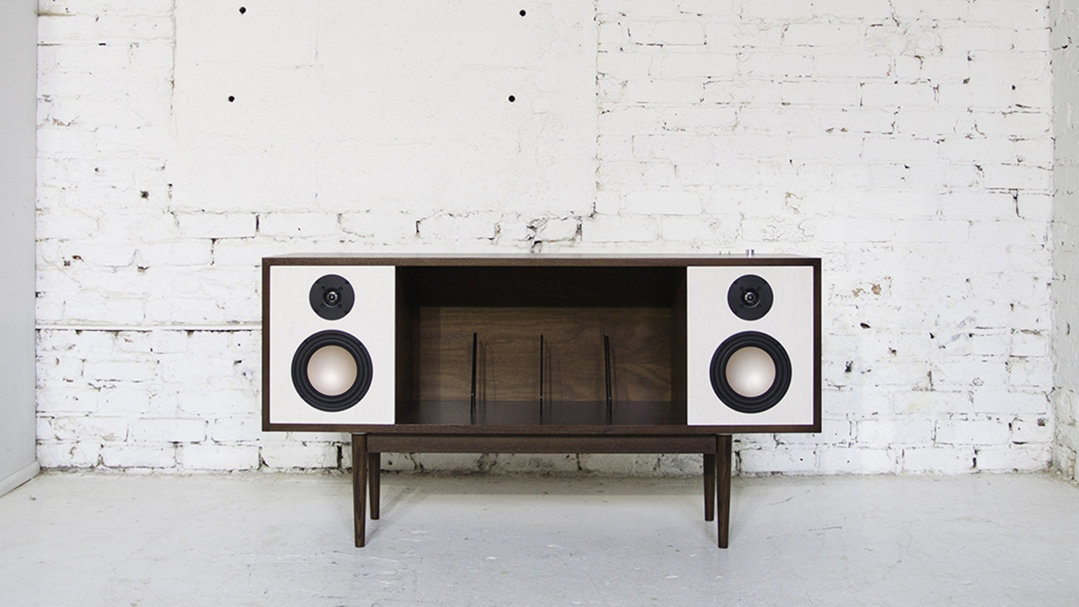 The HiFi Console is a Bluetooth enabled mid-century inspired stereo console built for this generation's music listener.