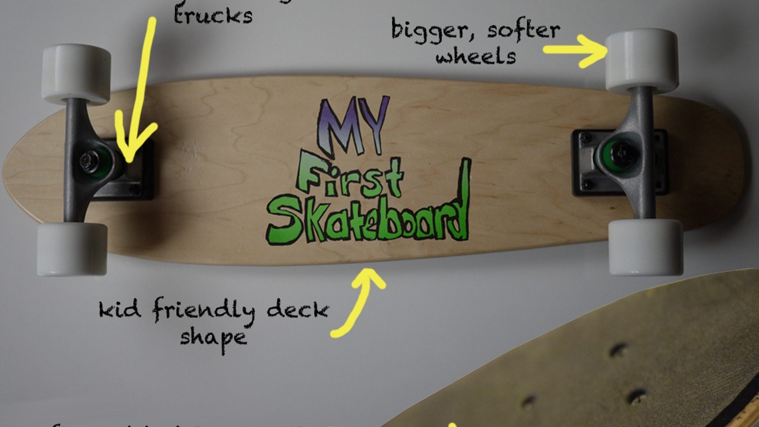 My First Skateboard is designed from the ground up to be a child's first introduction to rolling, pushing & turning on a skateboard.