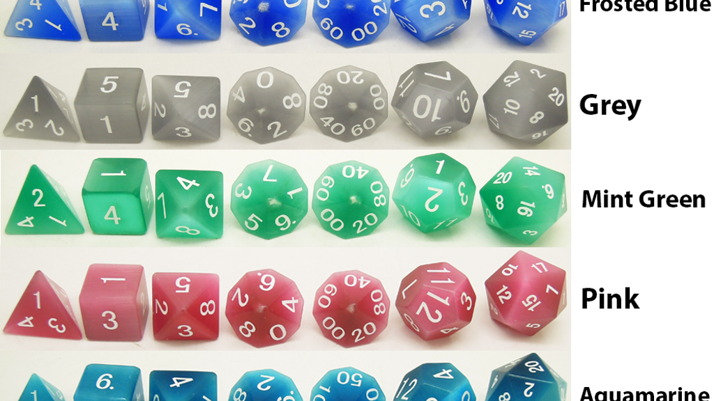 Project image for Cat's Eye Gemstone Dice Polyhedral Sets, d6's, & d20's