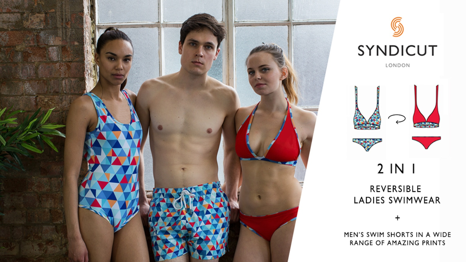 e8e13ef730376 The best swimwear for him and her - introducing a high quality reversible one  piece and bikini for her and bold printed shorts for him.