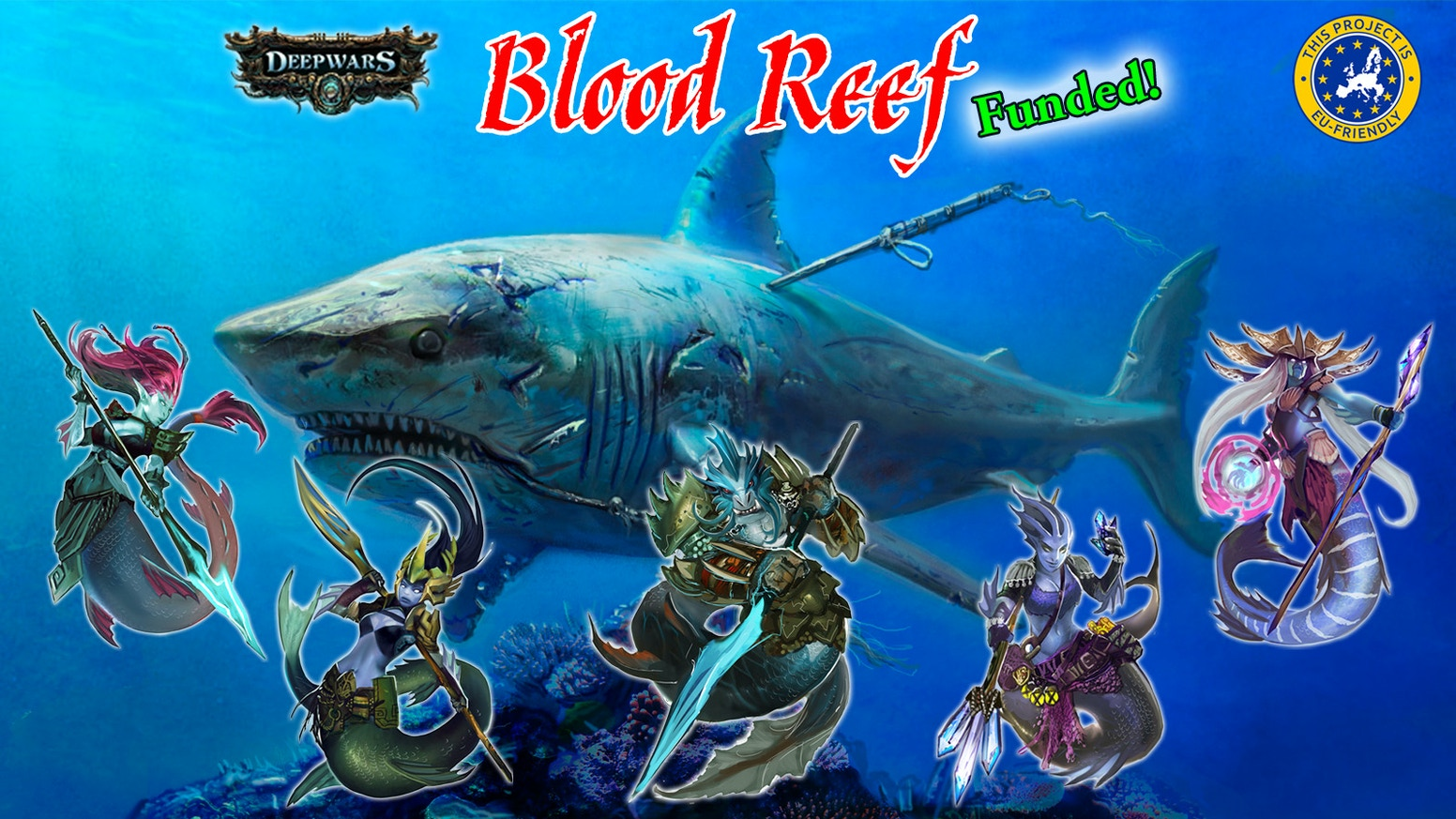 Battle in Blood Reef, a game setting for DeepWars, using the new Nereid force, giant sharks and other terrors of the sea.