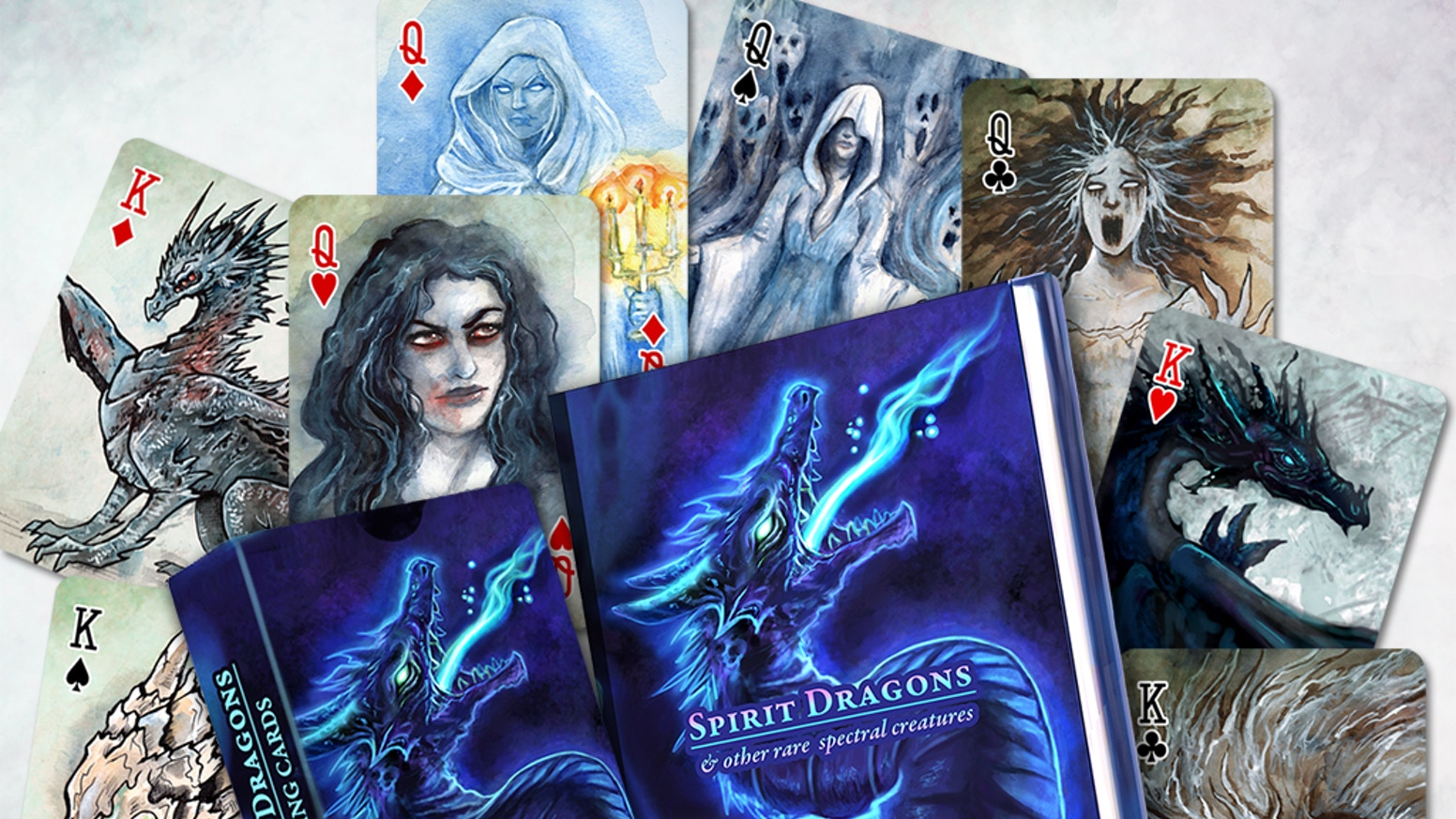 Playing cards, a fully illustrated book, and much more! Featuring Spirit Dragons & other rare spectral, undead, and ghostly creatures!