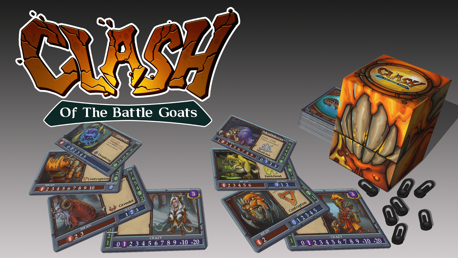 "Clash of the Battle Goats is a tactical card game of unstoppable monster goats. A stand-alone game that is compatible with ""Gruff!"""