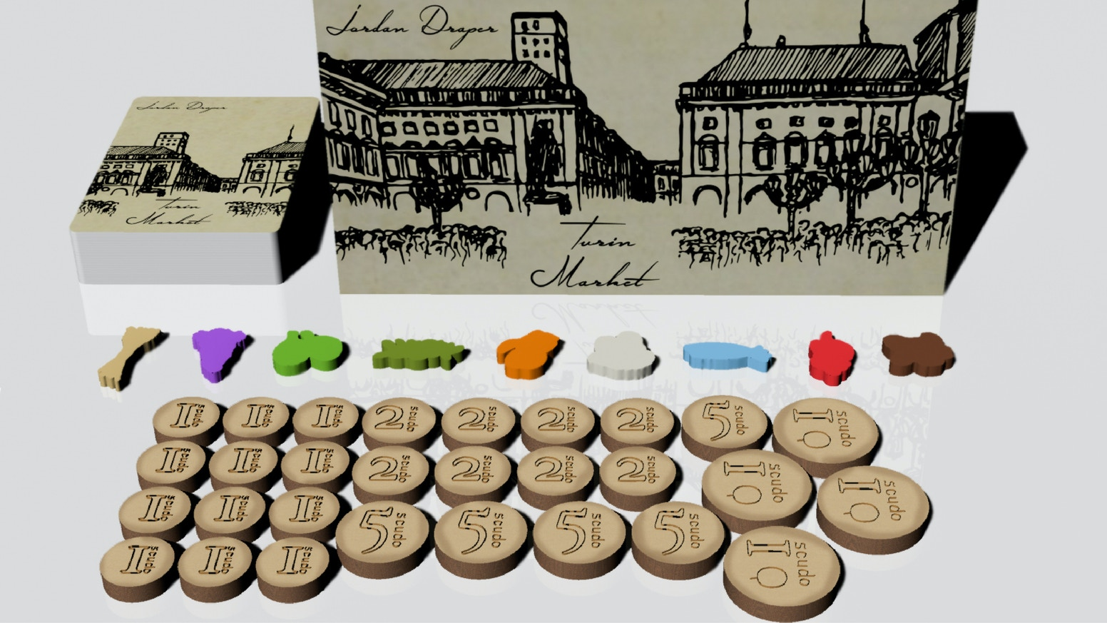Come join the markets of 18th century Turin in an auction set collection game for 2-5 players with loans, bluffing, and custom pieces!