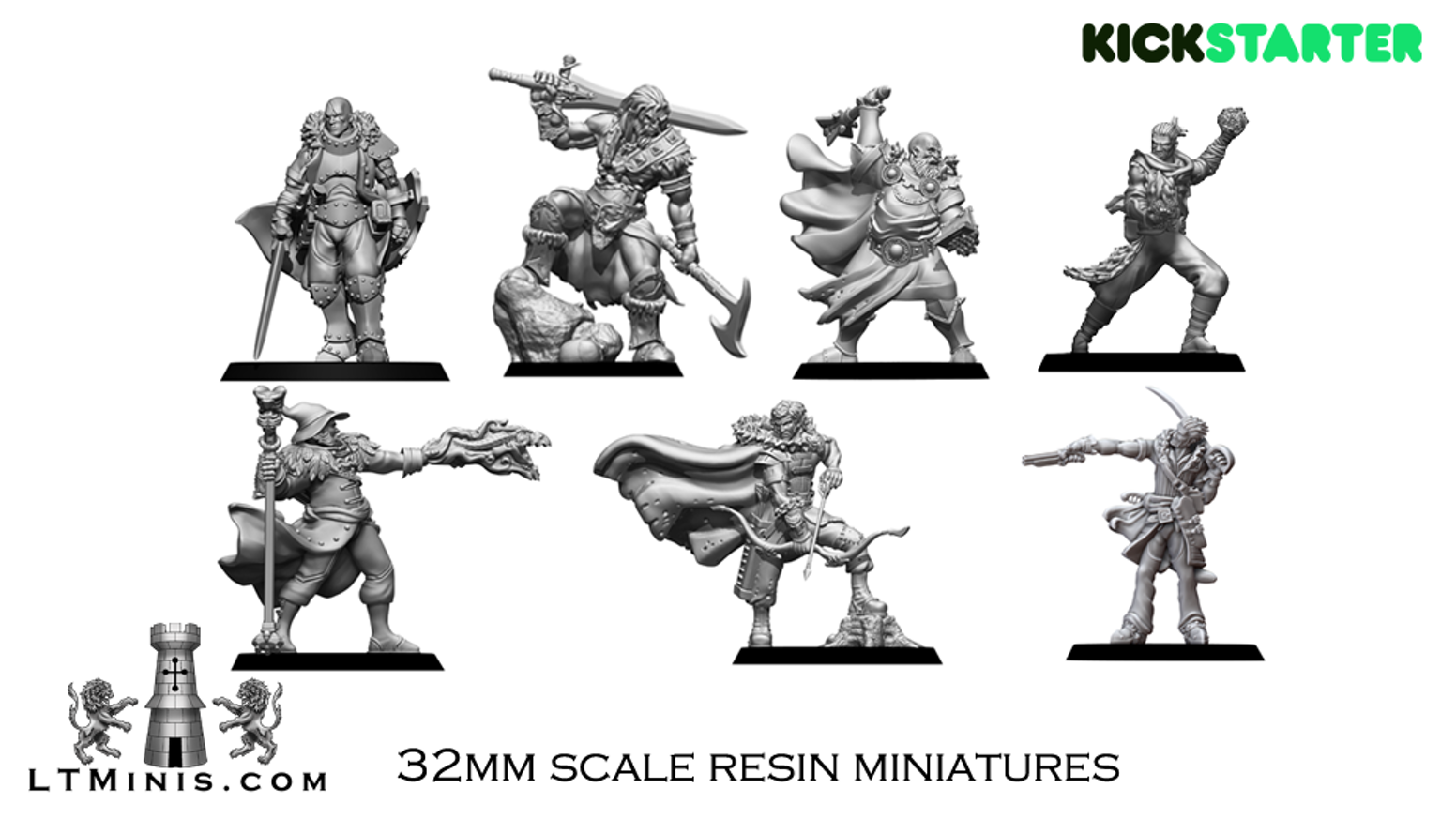 Highly detailed 32mm scale fantasy wargame miniatures -  digitally sculpted, 3D printed and cast in resin
