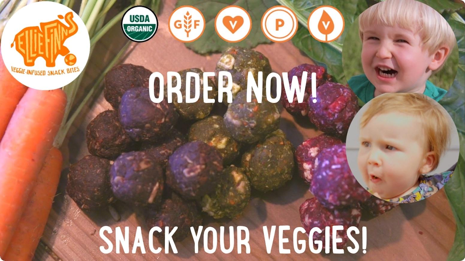 EllieFinn's Veggie Snack Bites are all-natural, gluten-free, vegan, and paleo snacks full of organic vegetables for the whole family
