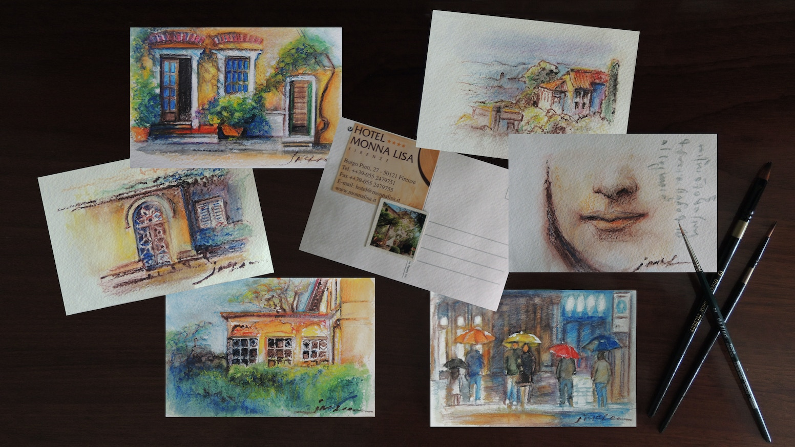$20.00 Original Art, hand painted Post Cards created during my trip to Florence & Cinque Terre this Fall, 2016 and mailed from Italy.