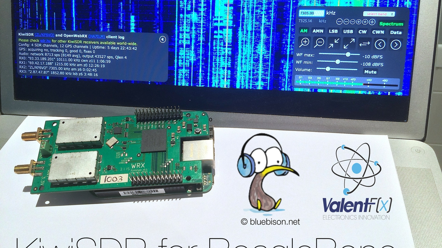 Turn your BeagleBone Black into a wide-band (0-30 MHz) SDR with a multi-user web interface. Includes a software-defined GPS receiver.