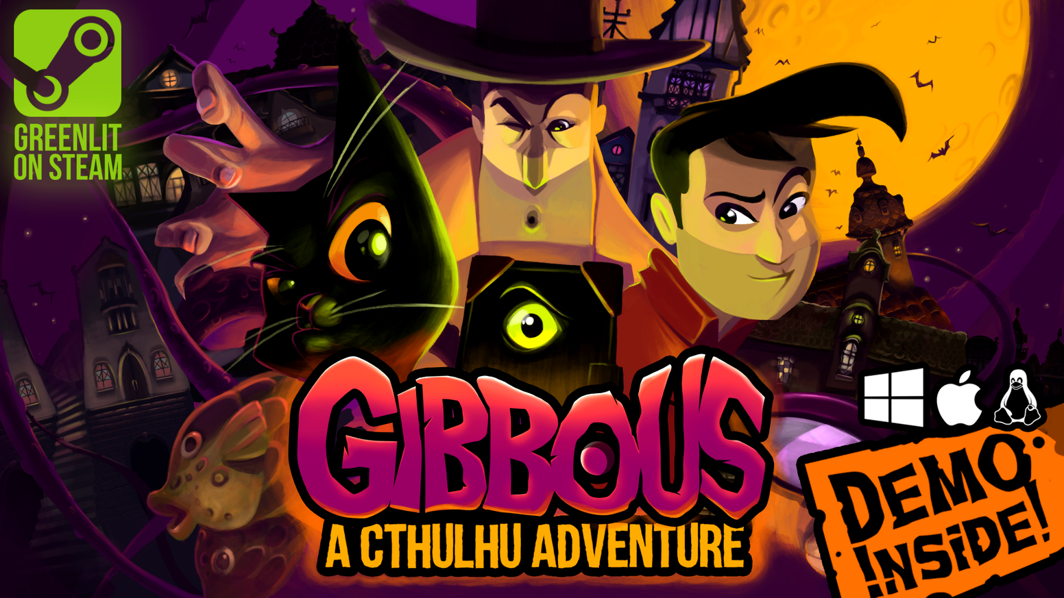 Crazy cultists. Cthulhu. A talking cat. Play as trhee protagonists and explore a lushly rendered Lovecraftian world. A comedy cosmic horror adventure made in Transylvania!
