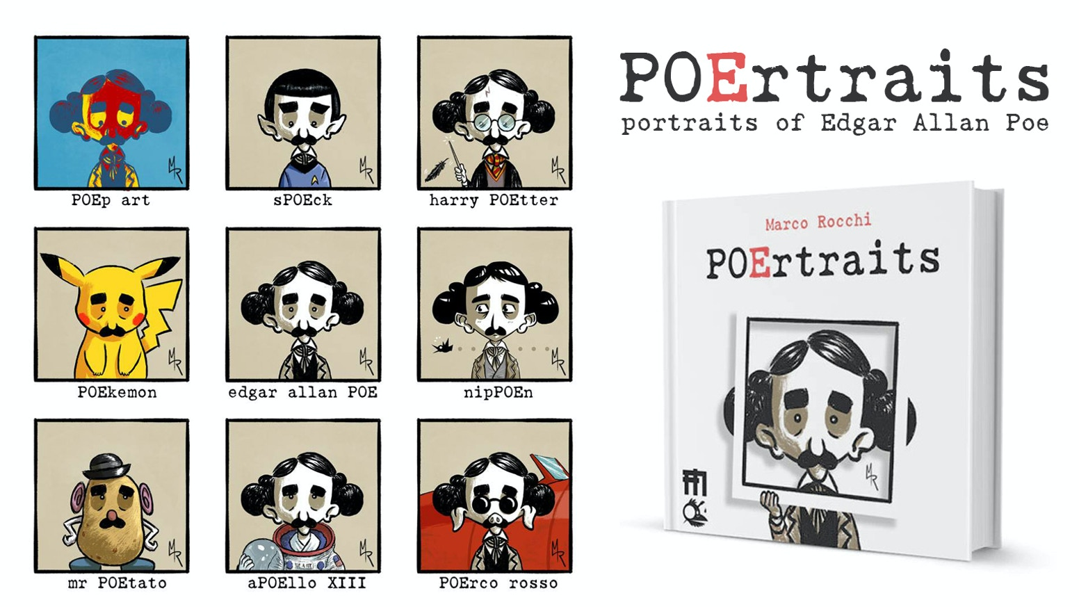 POErtraits, funny and original illustrations that blend Edgar Allan Poe with puns and pop culture. From Italy with crows!