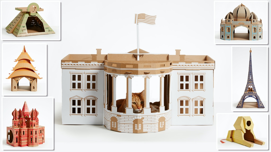 Cardboard 'Landmark' play houses for cats, dogs & small pets project video thumbnail