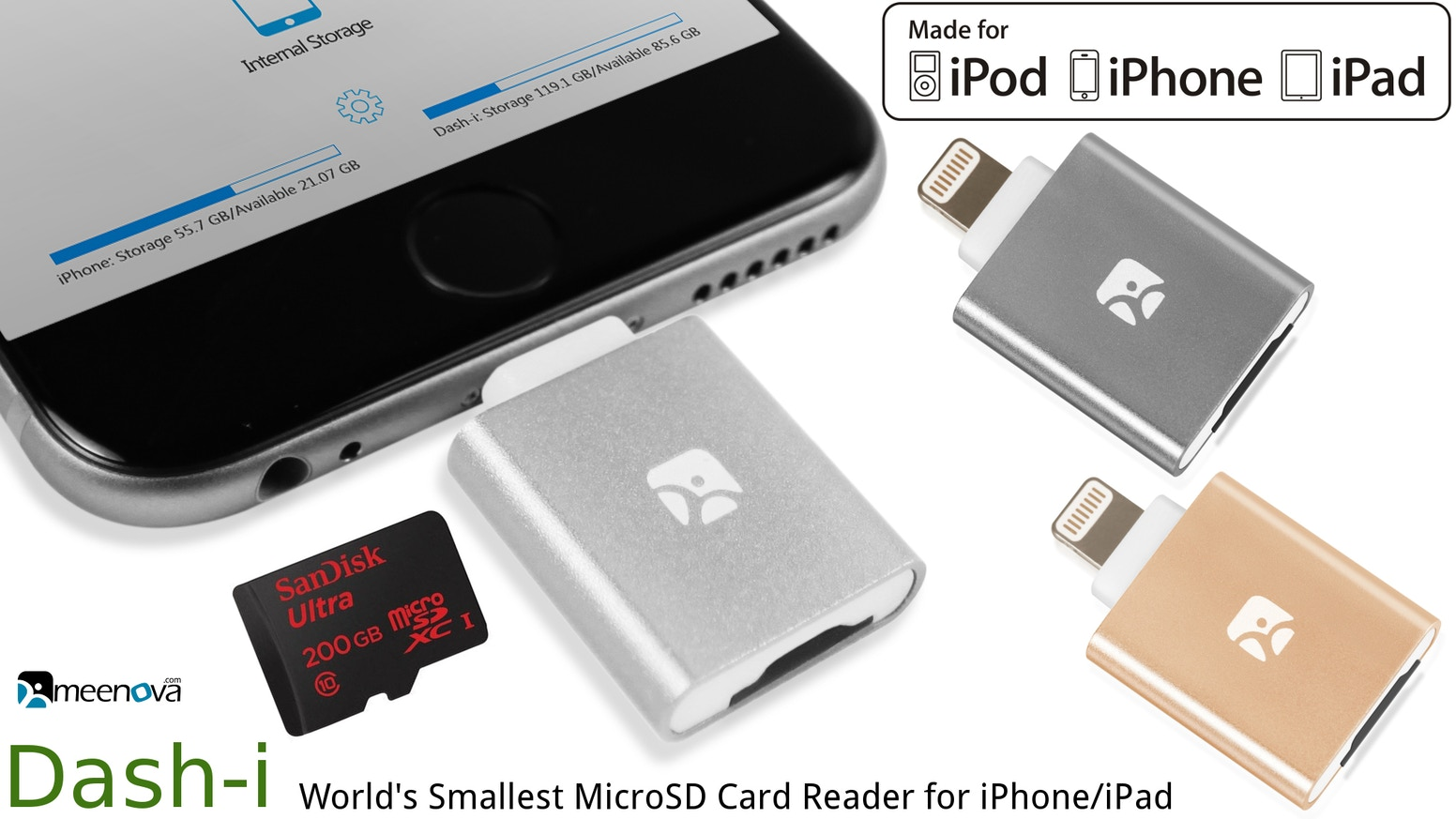 Add unlimited external storage to your iPhone/iPad: compact, elegant, tough aluminum, concurrent charging. The smallest & the best.