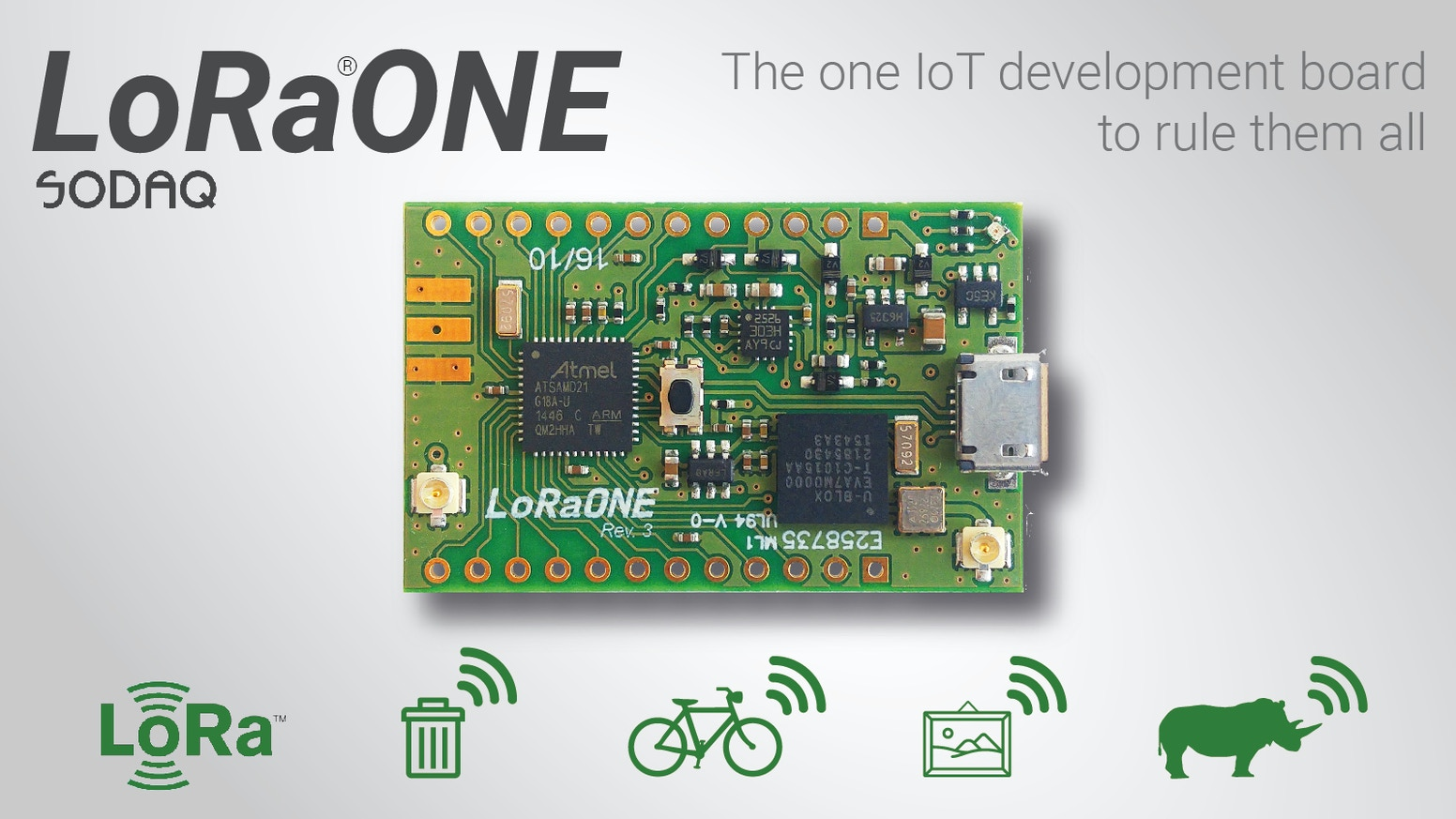 SODAQ ONE is the one IoT development board to rule them all. Make anything you can think of, with this tiny Arduino compatible board.