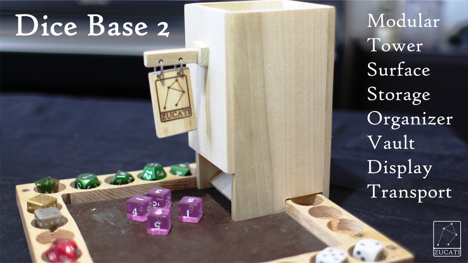 Protect, store, organize and display 225 of your favorite dice in this modular and easy to use dice vault system. Oak and leather.