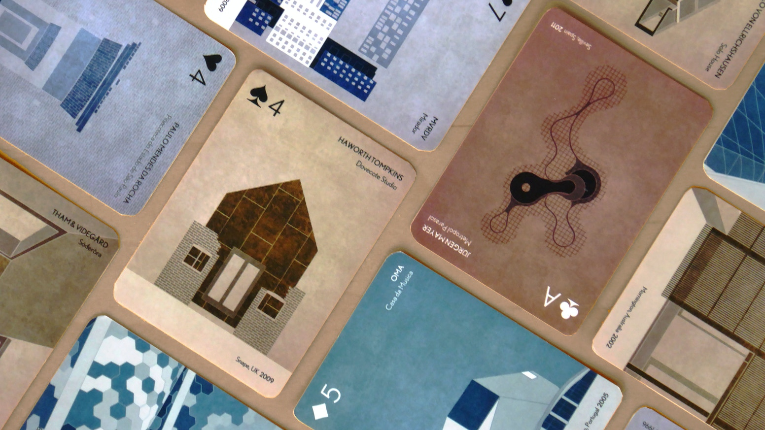 A standard deck of poker cards which provides an overview of several buildings of interest in the XXI century.