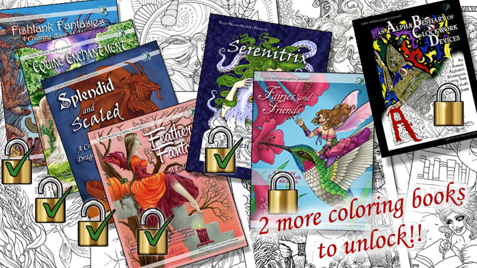 A new collection of adult fantasy colouring books: mermaids, dragons, unicorns, angels, and more! Stretch goals unlock more titles.