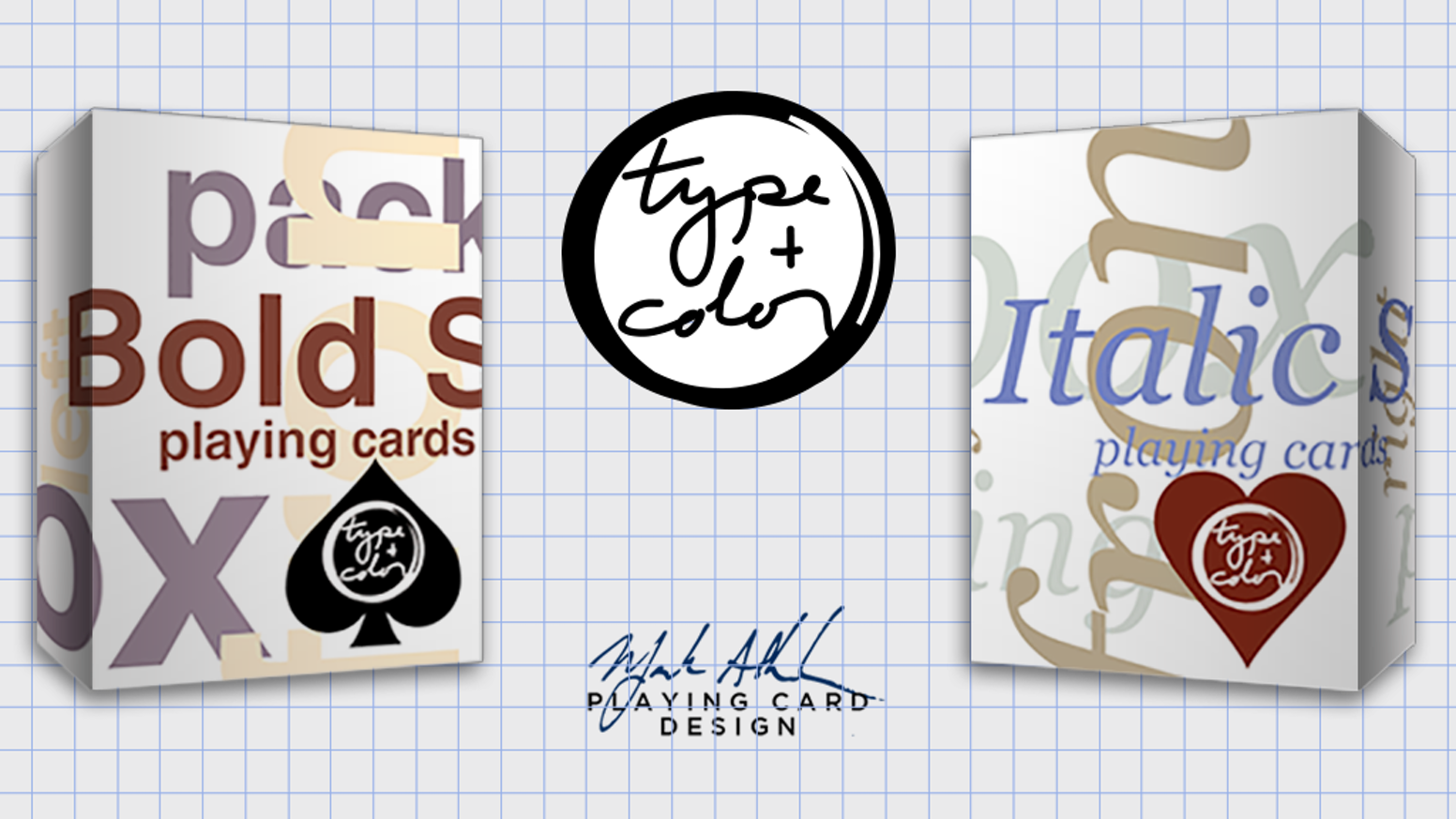 Type+Color is a set of playing card decks utilizing different color schemes with different type styles.