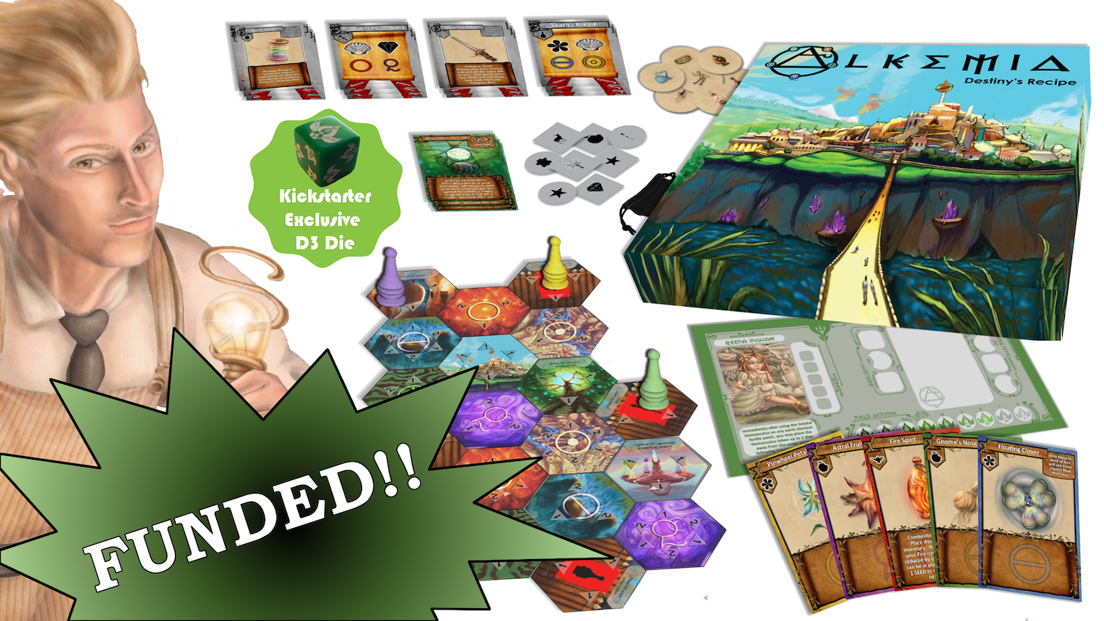 Become the next Grand Alchemist in this resource management, item crafting, alchemy themed tabletop game.