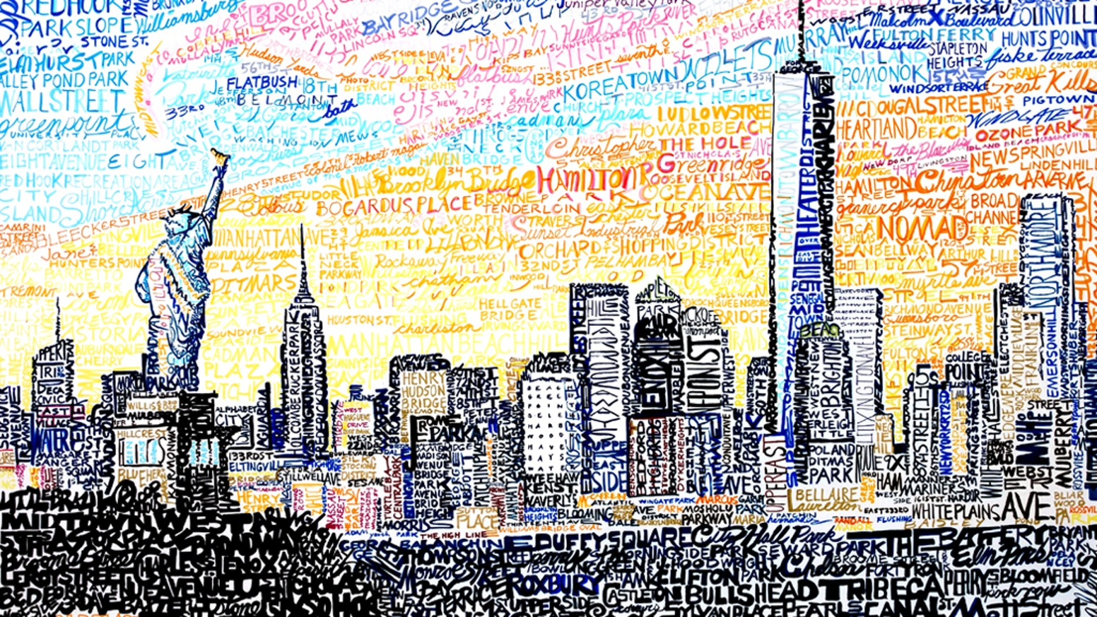 45f4d8e7acc Artist hand writes streets   neighborhoods to create unique cityscapes. Get  your prints of NYC