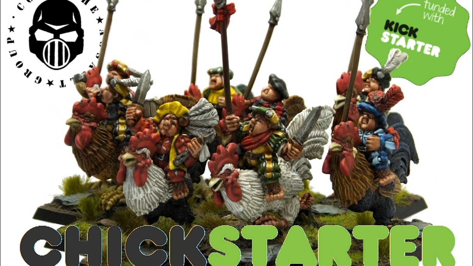 28mm sized, Halfling Militia Rooster Riders, for RPGs, and Old-School Fantasy battles