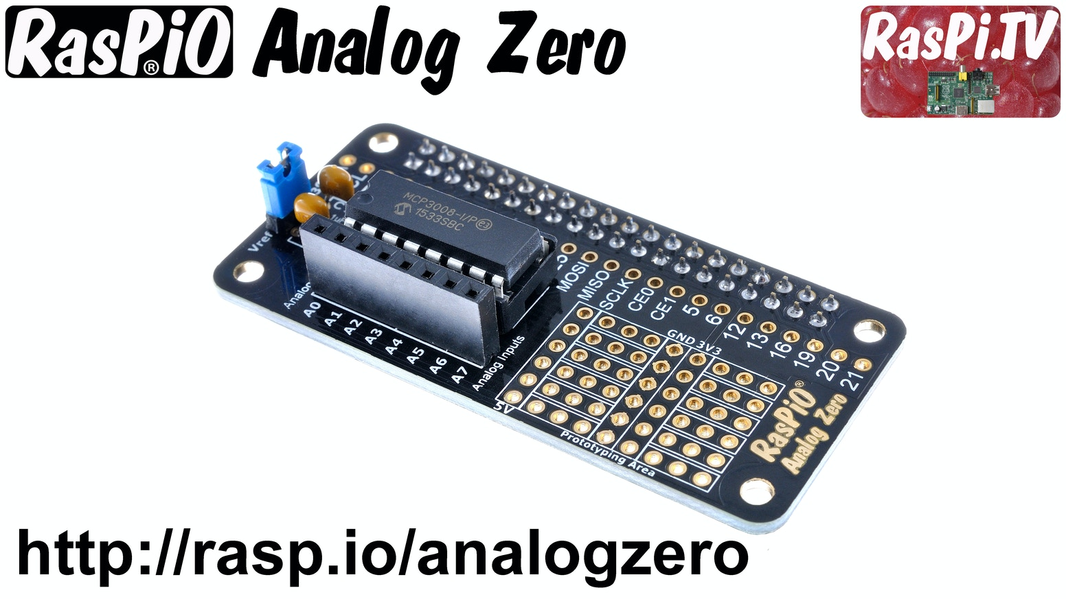 Read analog sensors with GPIO Zero. Make a weather station/ voltmeter/ digital thermometer. Fits any Raspberry Pi. Perfect for the Zero
