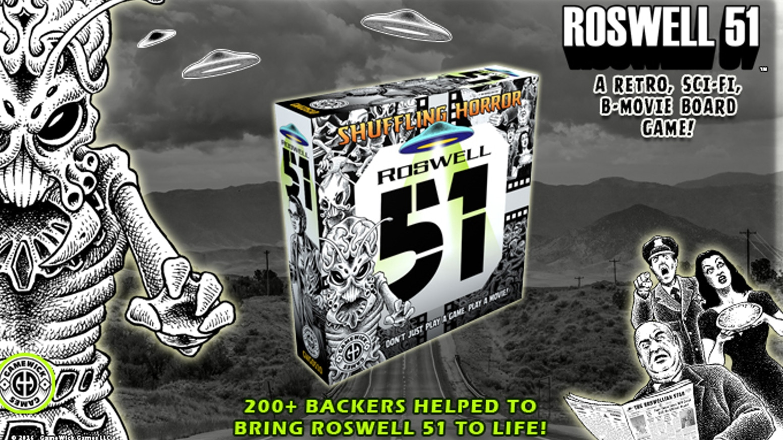 This action-packed sci-fi blockbuster won't be played in cinemas. It will be played on a tabletop near you. Get ready for Roswell 51 - the board game that plays like a movie!