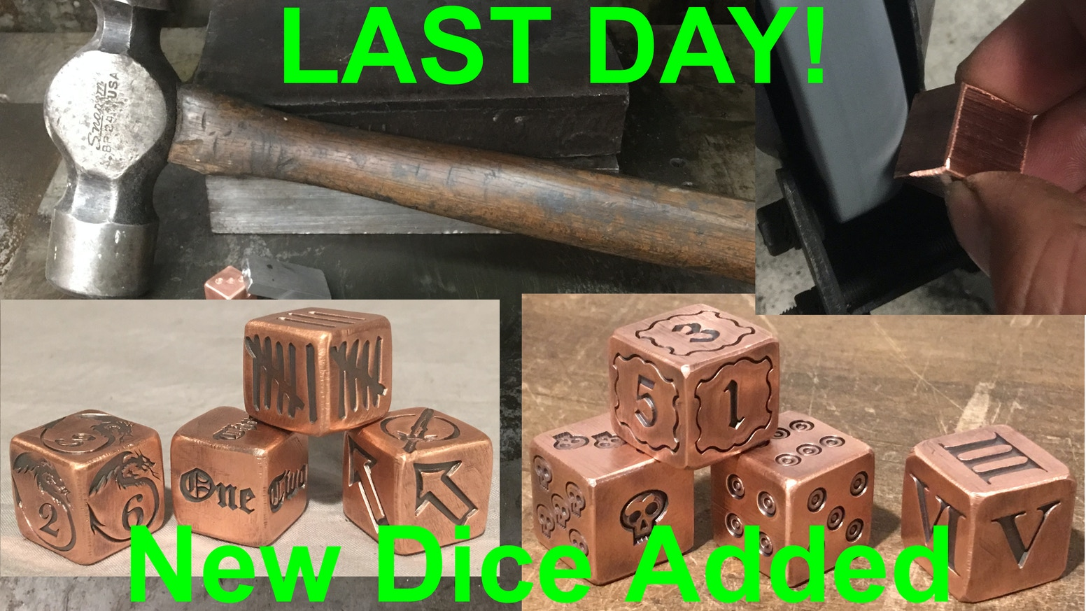 New Designs Added! Dragon design, Scatter die, Tally Marks & Lettered dice! Handmade SOLID Copper Metal! Quality feel, smooth roll!