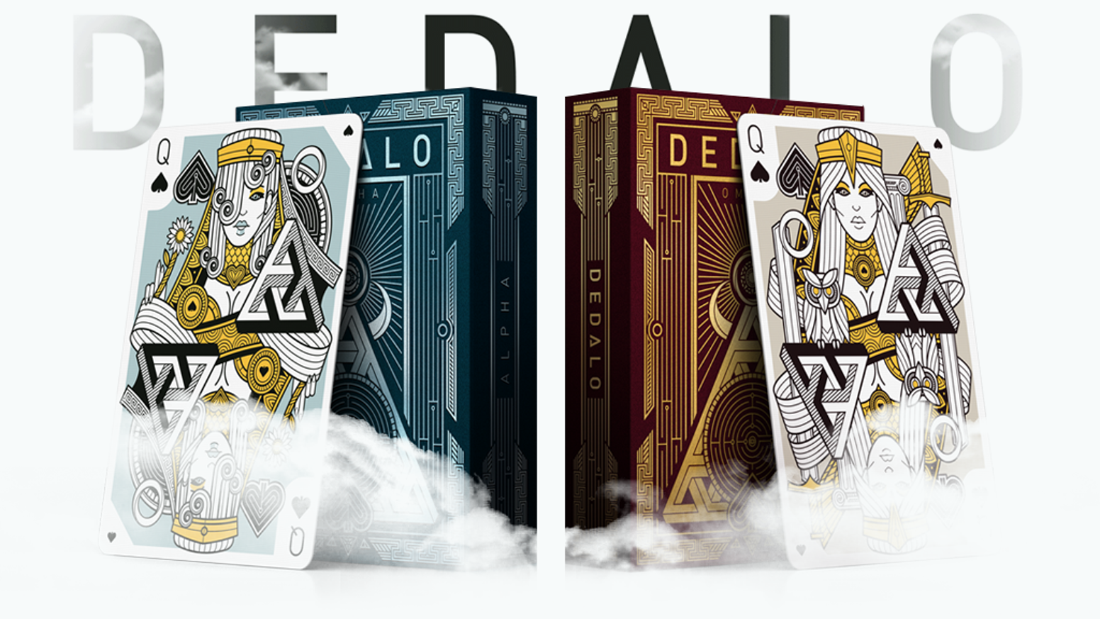 Custom poker size playing cards. Inspired by mythology, drawn with a sharp and modern style, printed by EPCC.