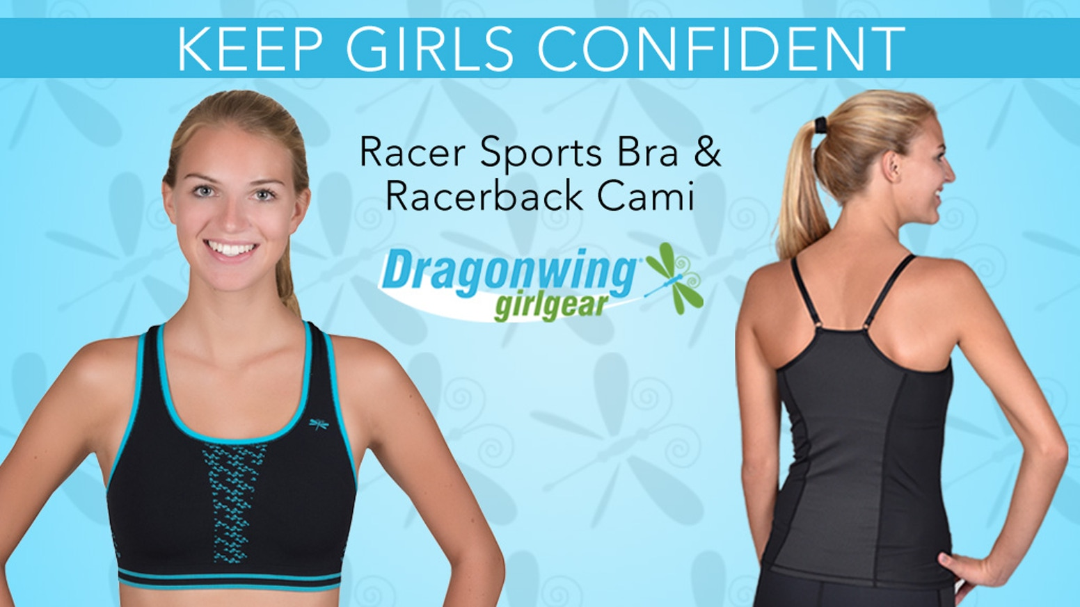 Racer Sports Bra + Racerback Cami. Super High Performance, Wicking, Antimicrobial, Breathable Silver-infused Mesh. Designed for Girls.